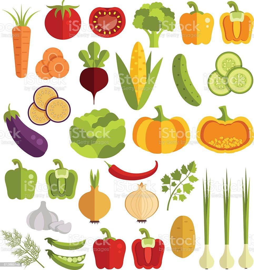 Vegetables vector flat icons set vector art illustration