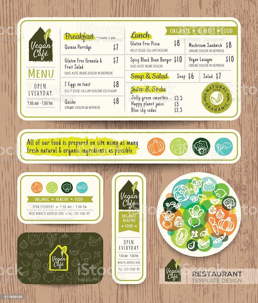 Vegetarian and vegan restaurant cafe set menu graphic design template vector art illustration