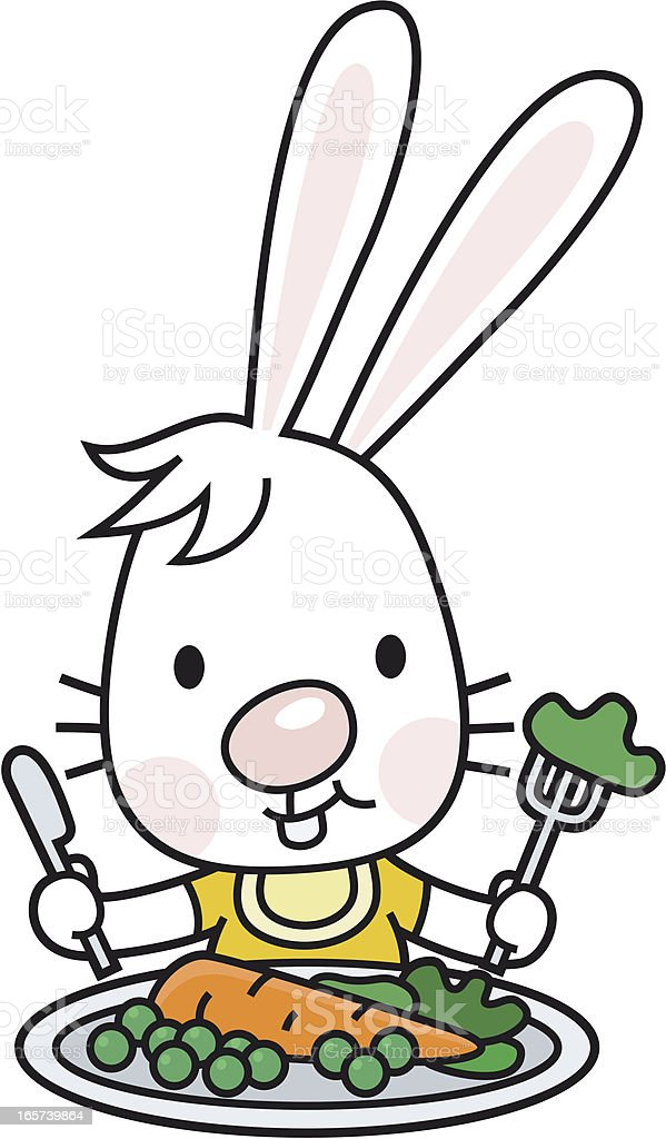 vegetarian bunny with salad plate vector art illustration