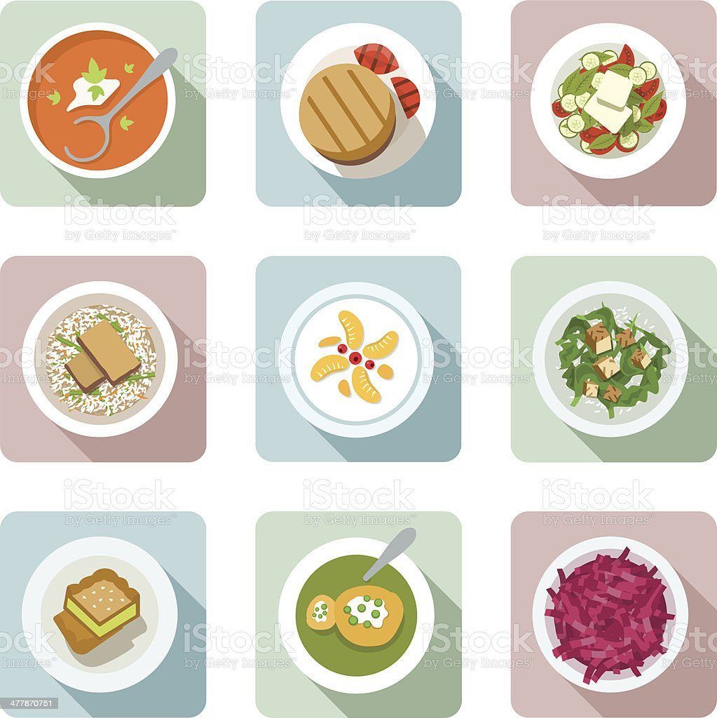 Vegetarian cuisine. Flat icons in color vector art illustration