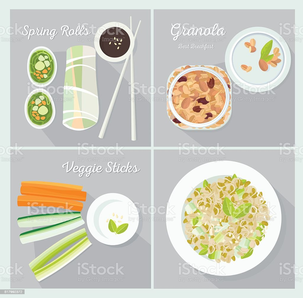Vegetarian dishes vector art illustration
