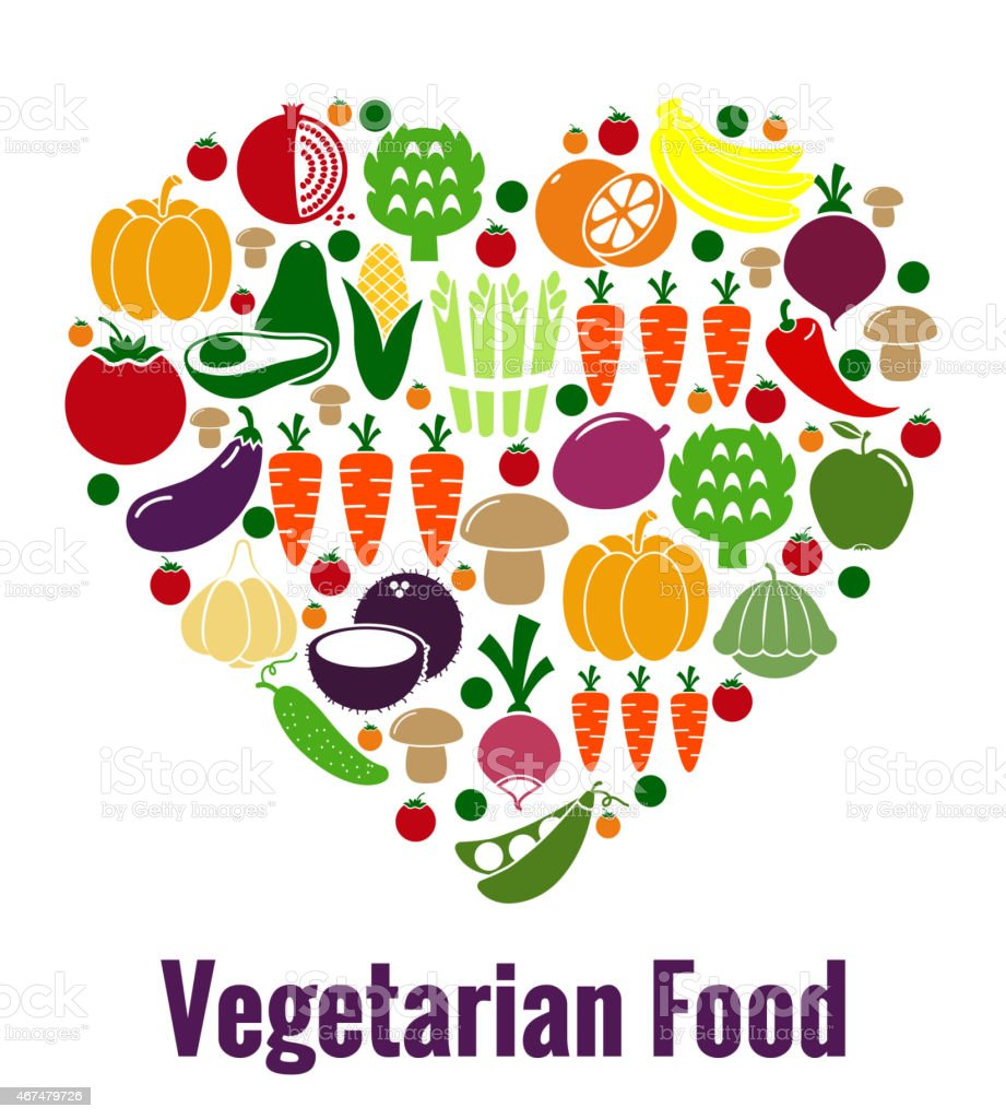 Vegetarian food heart shape vector art illustration