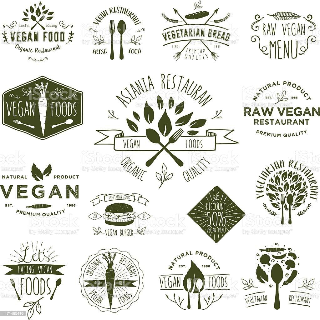 Vegetarian Foods Badges vector art illustration