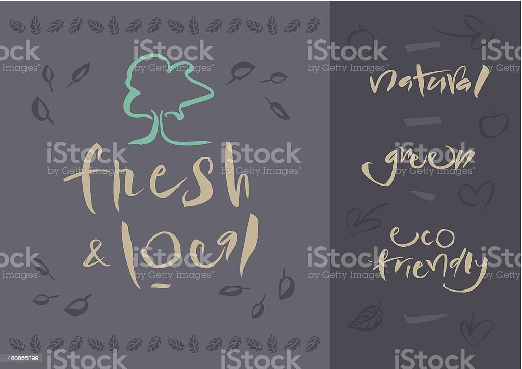 Vegetarian - Fresh & Local - Calligraphy royalty-free stock vector art