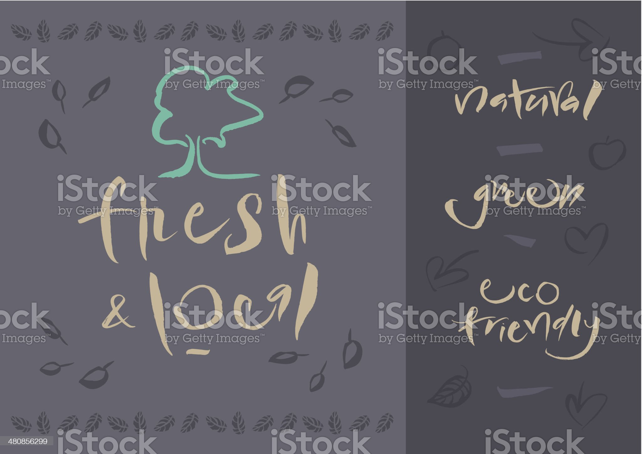 Vegetarian - Fresh & Local - Calligraphy royalty-free stock vector art