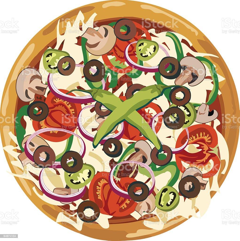 Vegetarian Pizza vector art illustration