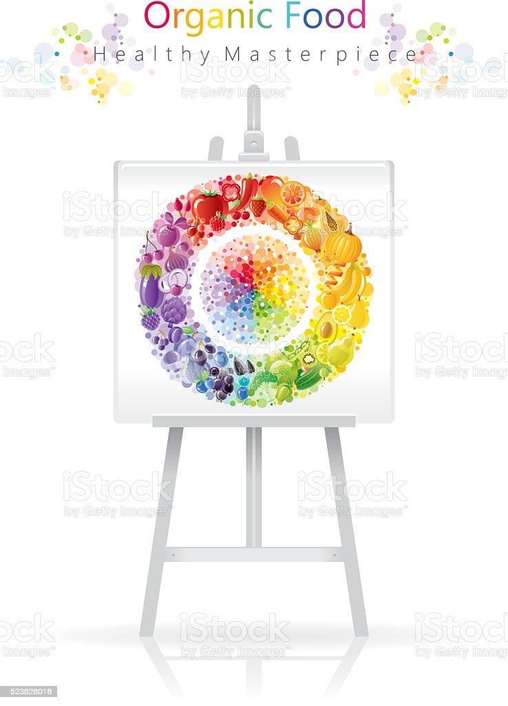 Vegetarian rainbow plate on canvas and easel vector art illustration