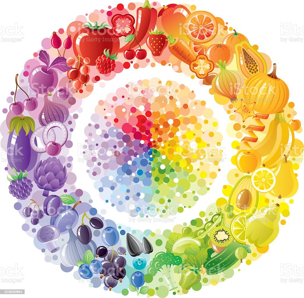 Vegetarian rainbow plate withe fruits, vegetables, nuts, berries vector art illustration