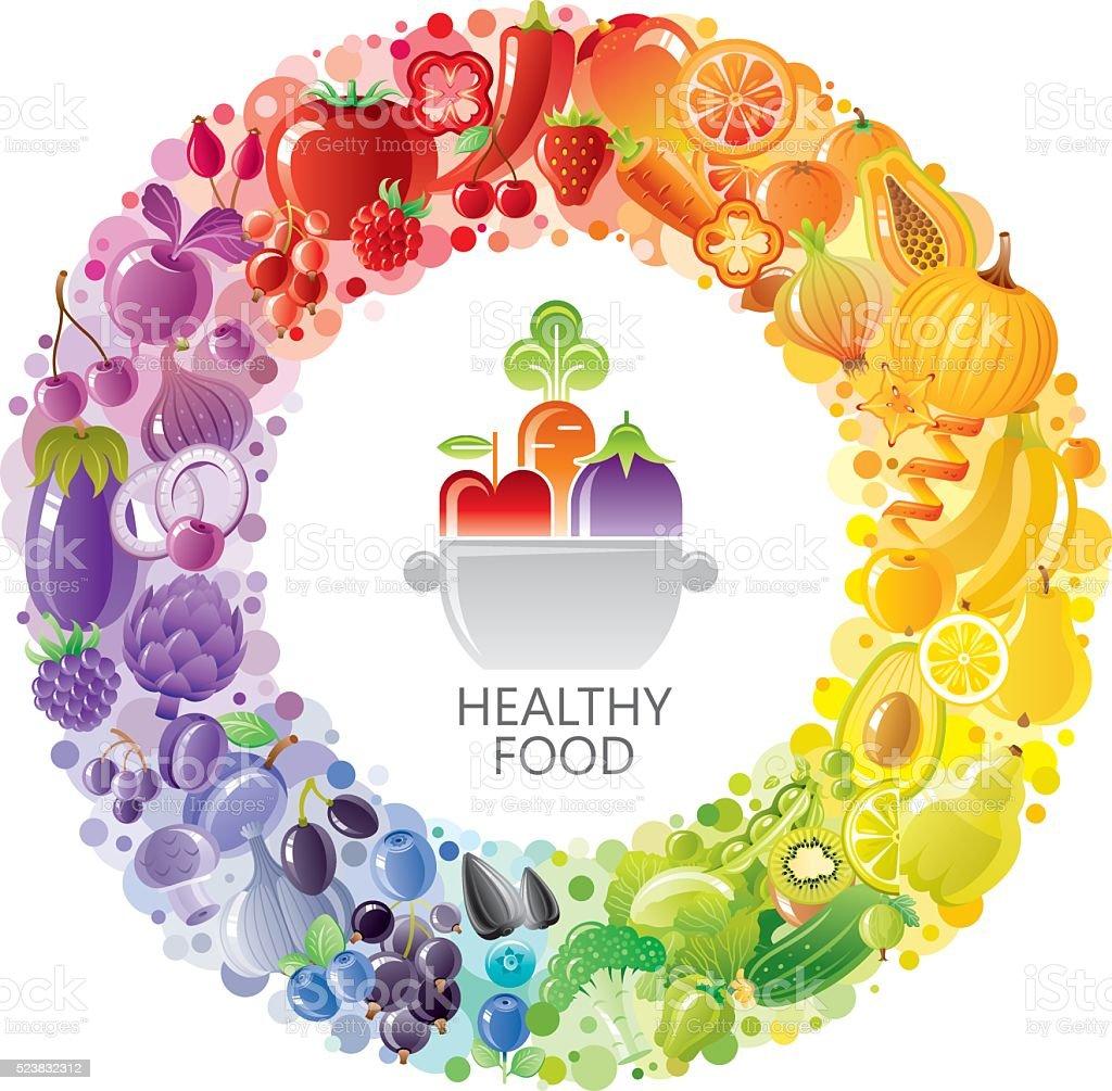 Vegetarian rainbow plate withe fruits, vegetables, nuts, berries vector art illustration