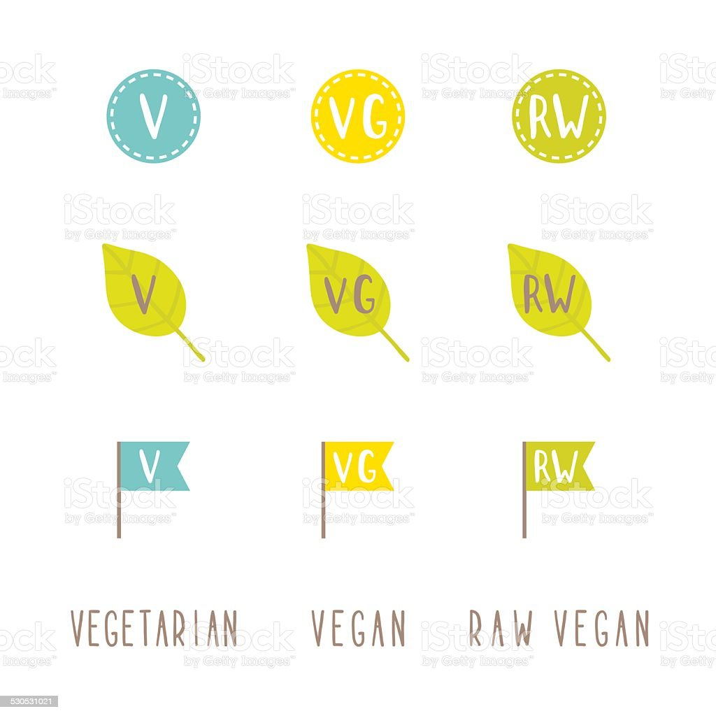 Vegetarian, vegan, raw vegan tags. vector art illustration