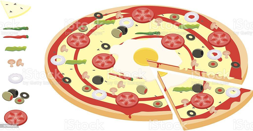 veggie pizza vector art illustration