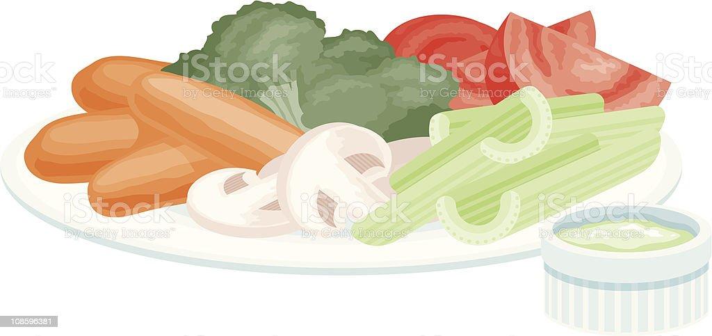 Veggies and Dip vector art illustration