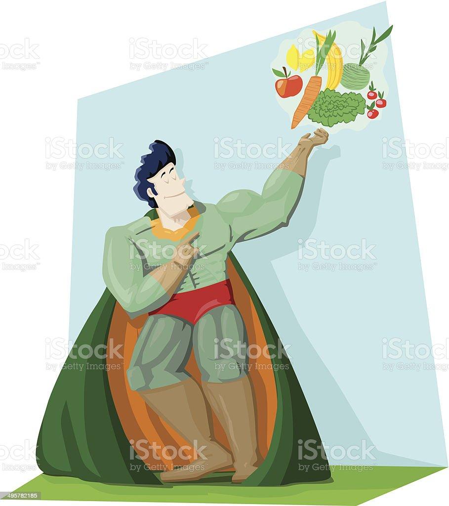 Veggi-Man, der Obst- und Gem?seheld royalty-free stock vector art