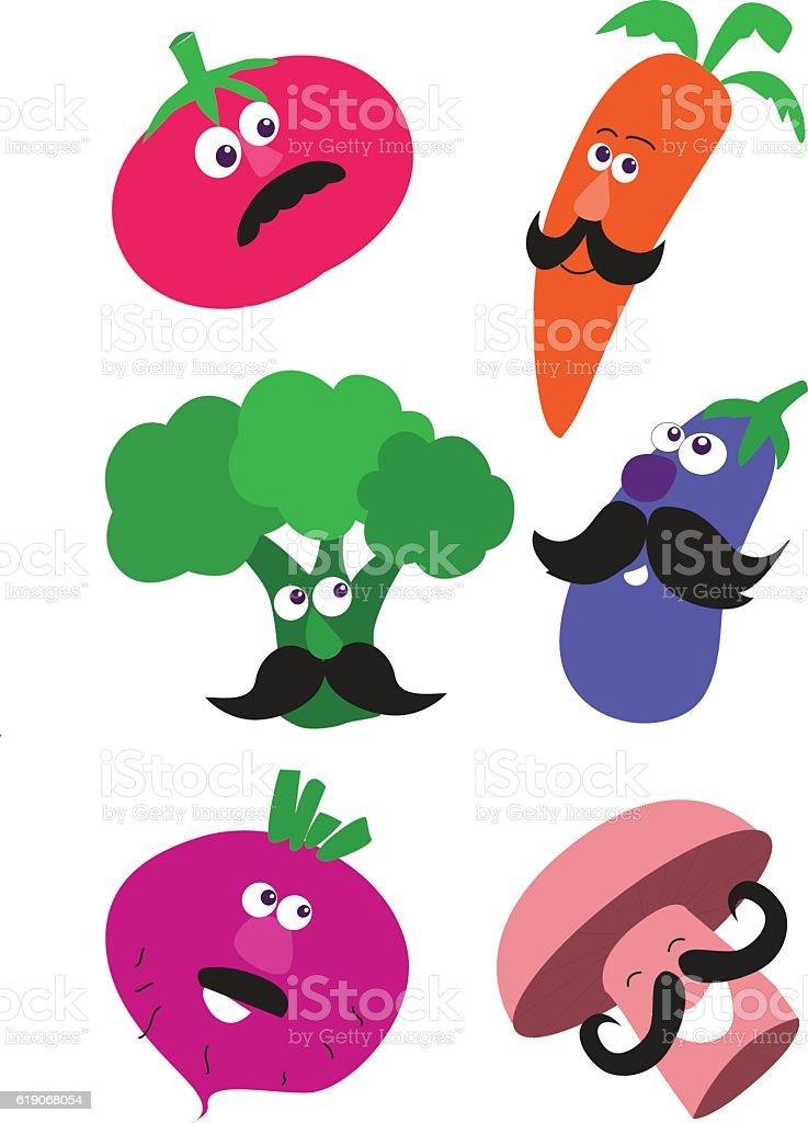 Vegitables with Mustache vector art illustration