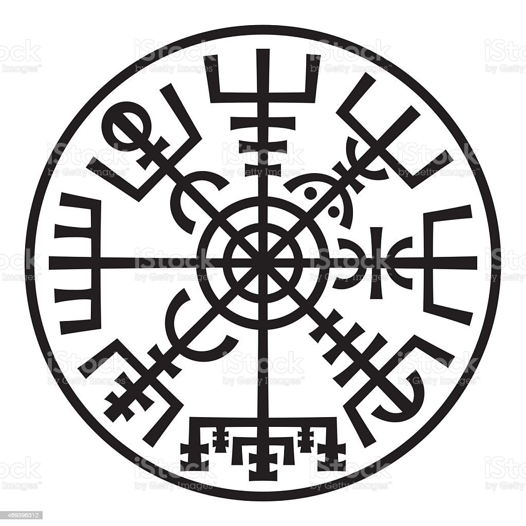 Vegvisir. The Magic Compass of Vikings. Runic Talisman (In The Ring). vector art illustration