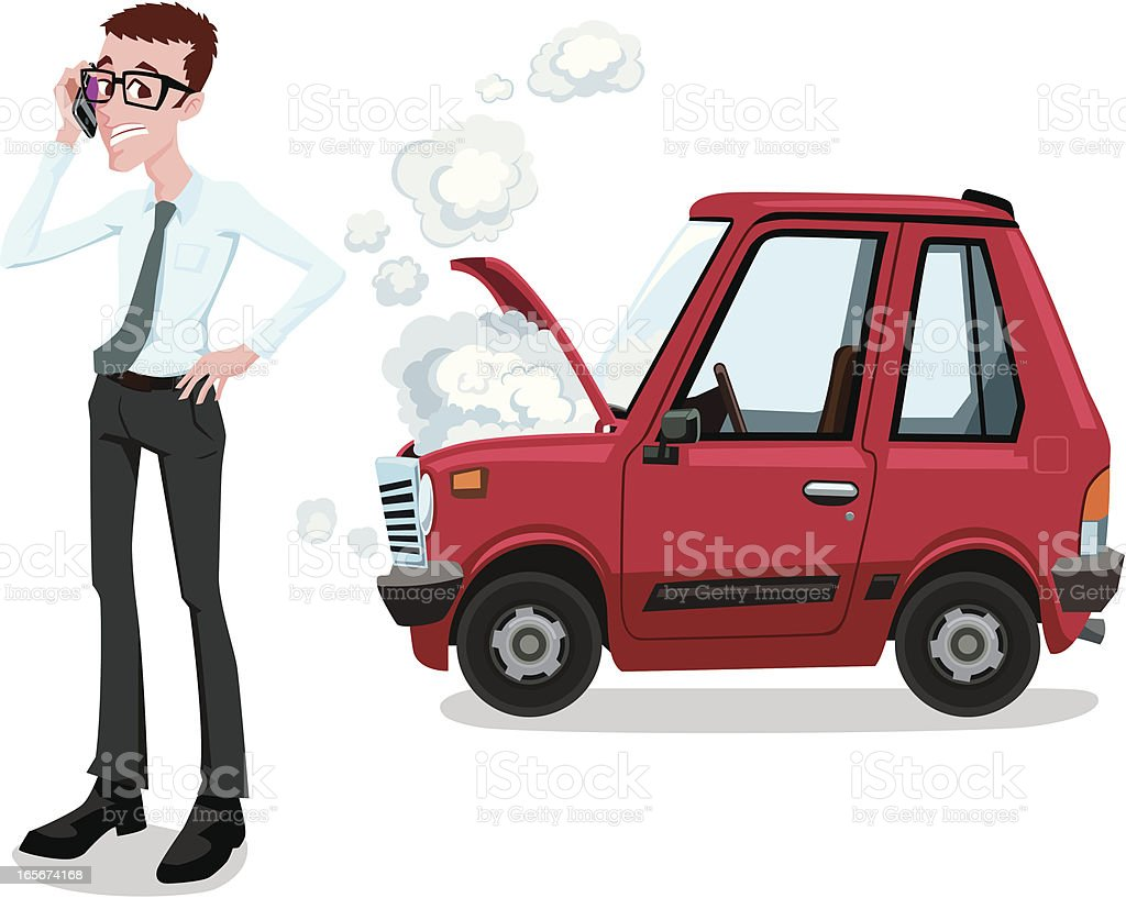 Vehicle Breakdown Situation vector art illustration