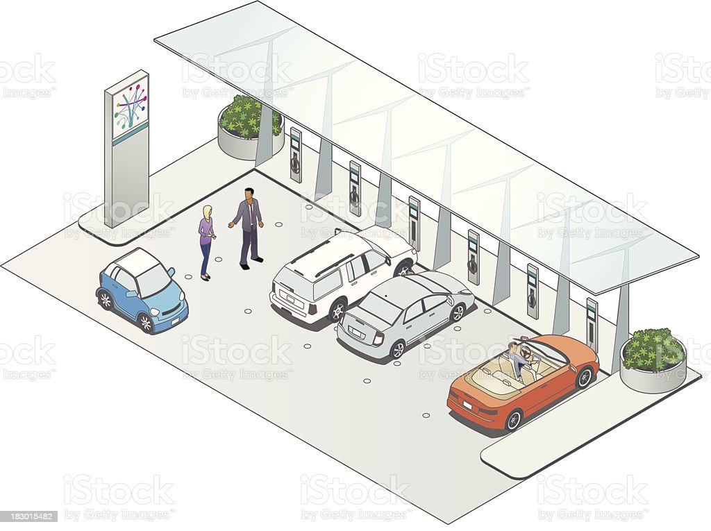 Vehicle Charging Station vector art illustration
