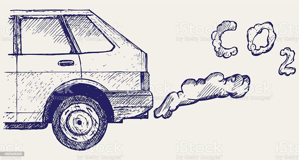 Vehicle exhaust vector art illustration
