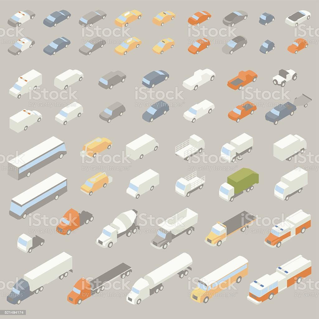 Vehicle Icons Isometric vector art illustration