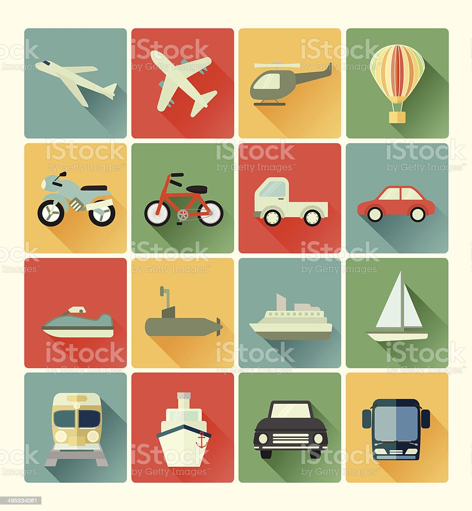 vehicle icons vector art illustration
