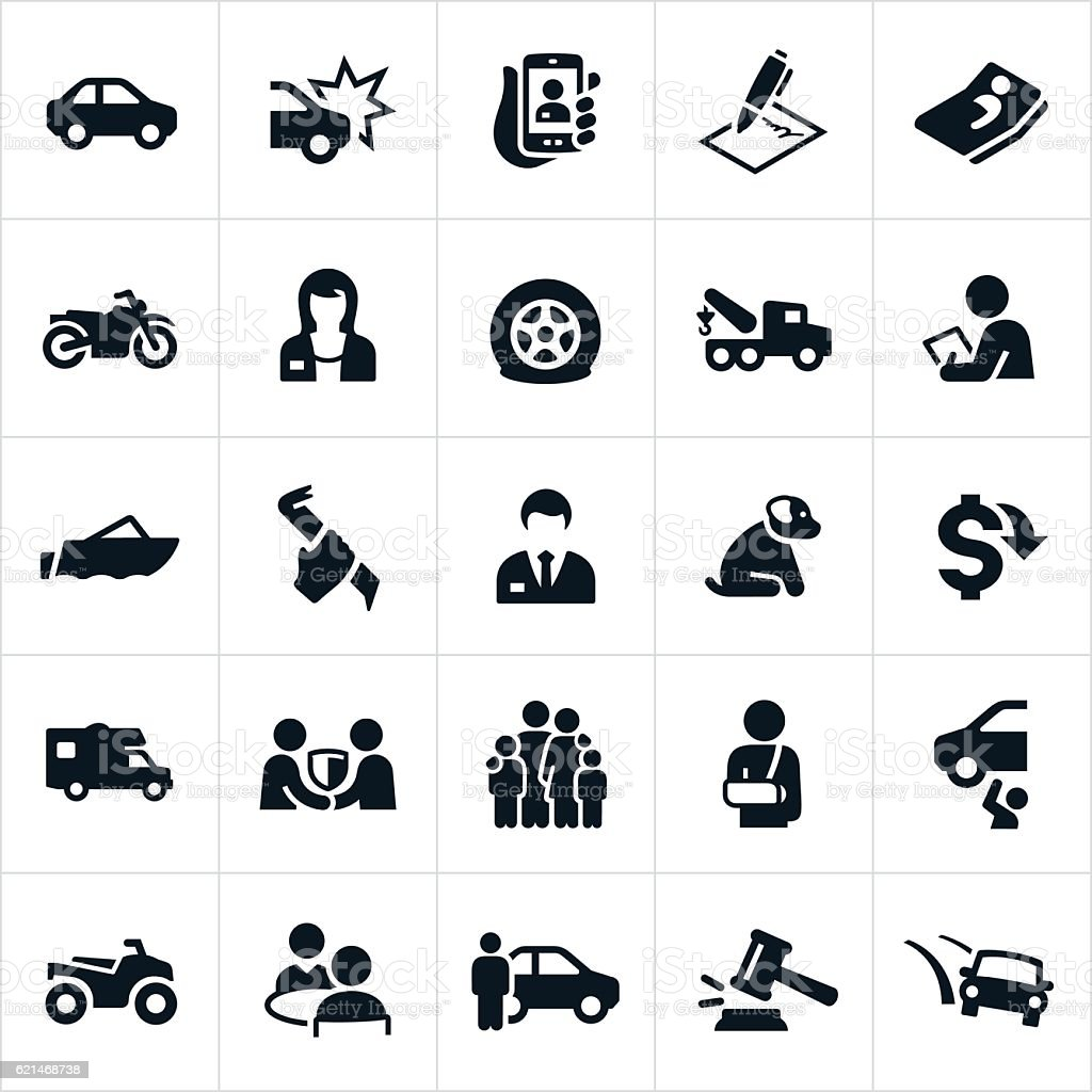Vehicle Insurance icons vector art illustration