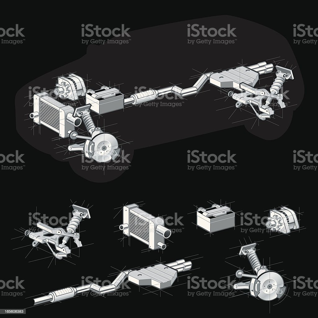 Vehicle parts with silver car parts royalty-free stock vector art
