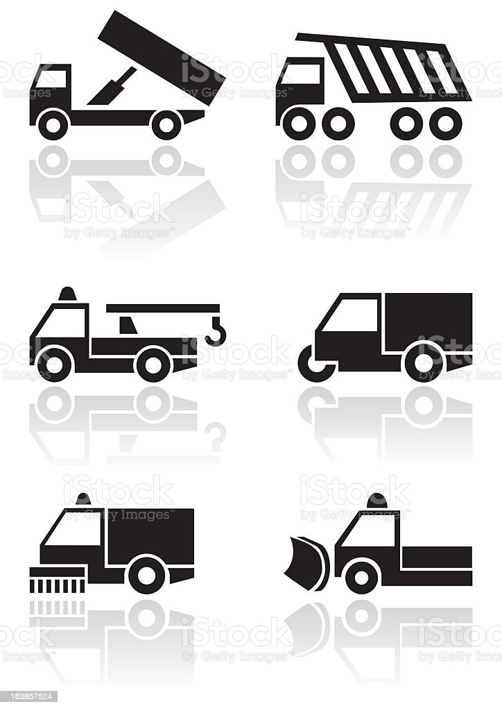 Vehicle vector icons set symbols vector art illustration