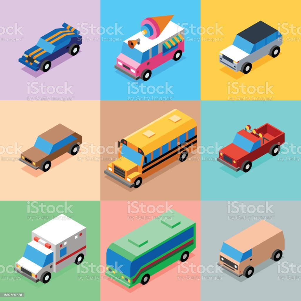 Vehicles Bright Colors Icons Set 1. 3D Isometric Low Poly Flat Design. Vector illustration. vector art illustration