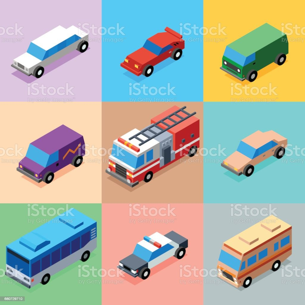 Vehicles Bright Colors Icons Set 2. 3D Isometric Low Poly Flat Design. Vector illustration. vector art illustration