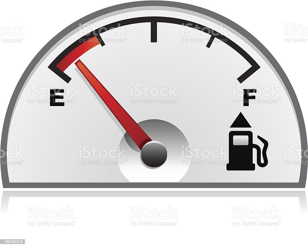 Vehicle's empty petrol gauge illustration isolated on white royalty-free stock vector art