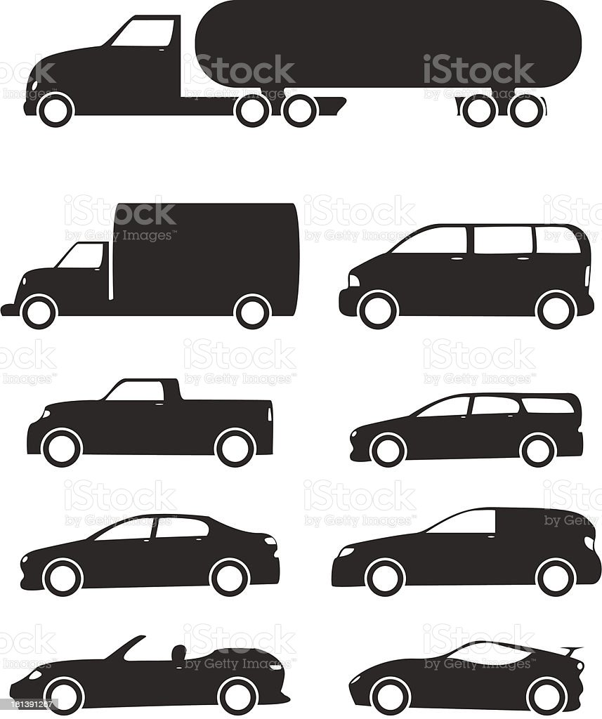 Vehicles Icon Set royalty-free stock vector art