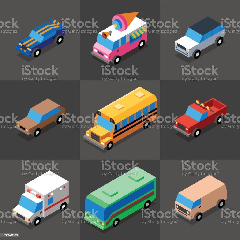 Vehicles Icons Set 1. 3D Isometric Low Poly Flat Design. Vector illustration. vector art illustration