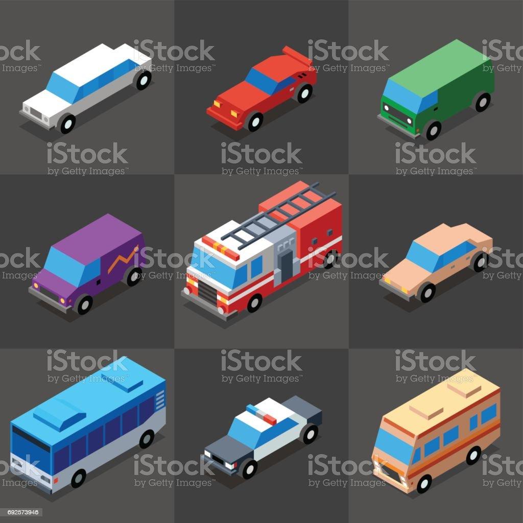 Vehicles Icons Set 2. 3D Isometric Low Poly Flat Design. Vector illustration. vector art illustration