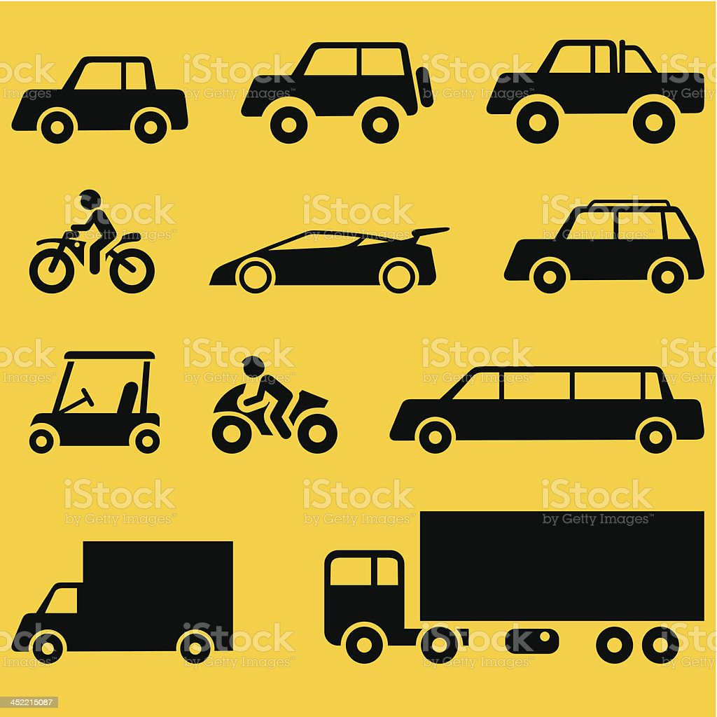 Vehicles icons royalty-free stock vector art
