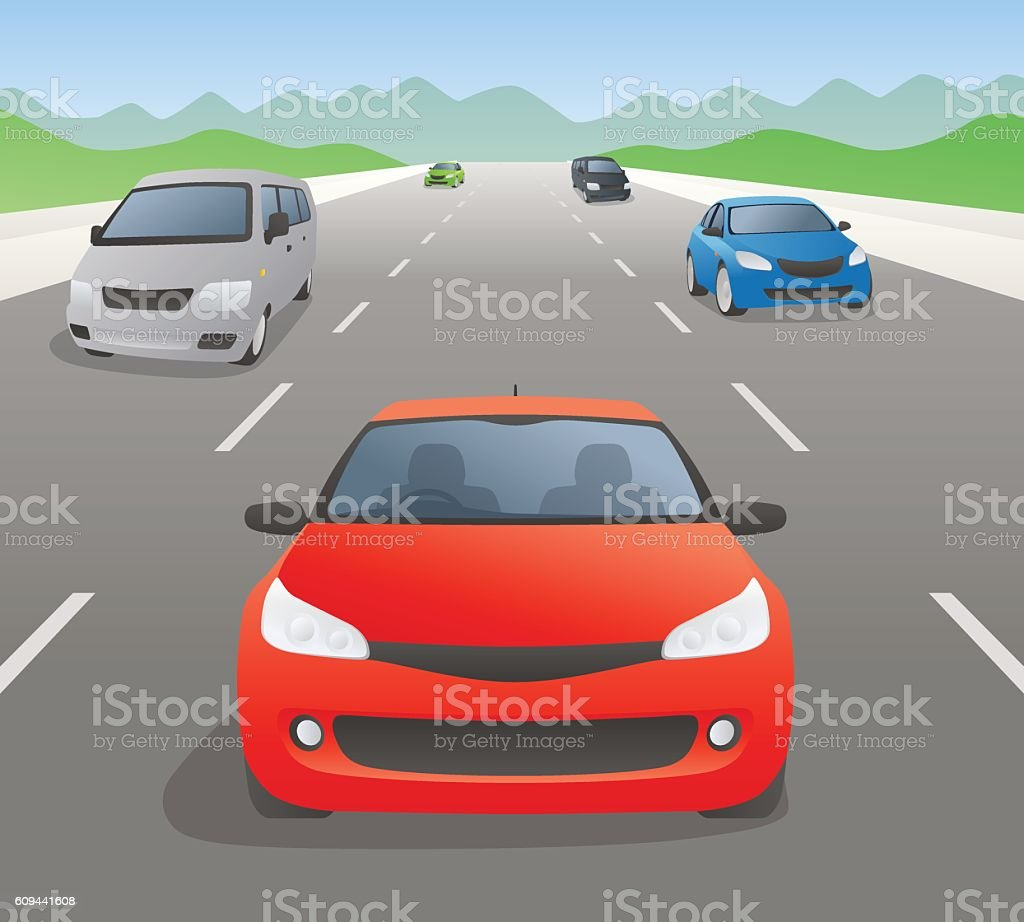 vehicles on highway, front view, vector illustration vector art illustration
