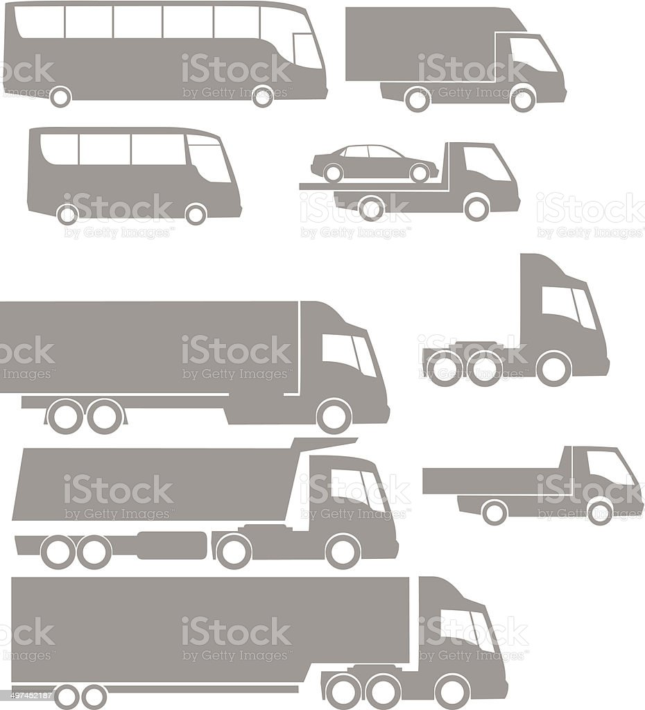 vehicles silhouette2 vector art illustration