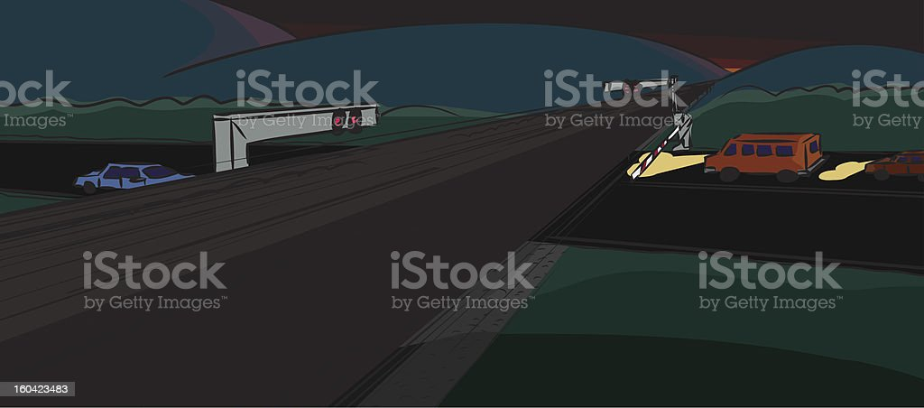 Vehicles Stopped by Train royalty-free stock vector art