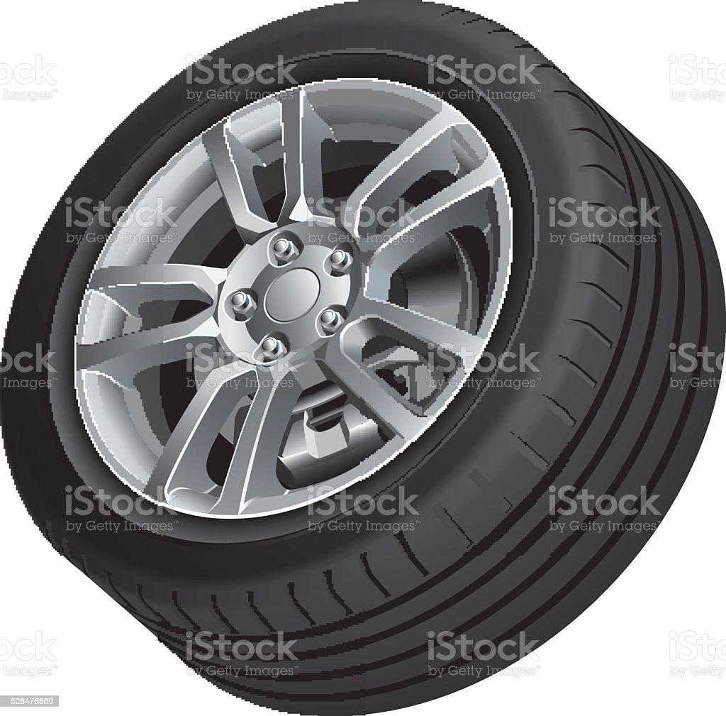Vehicular wheel isolated vector art illustration