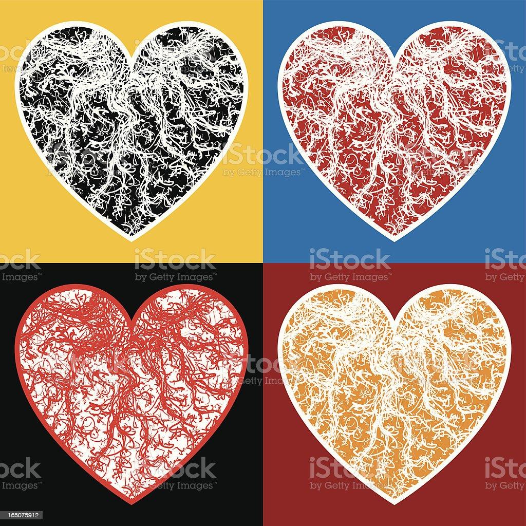 Veined hearts royalty-free stock vector art