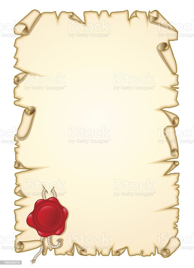 vellum with seal royalty-free stock vector art