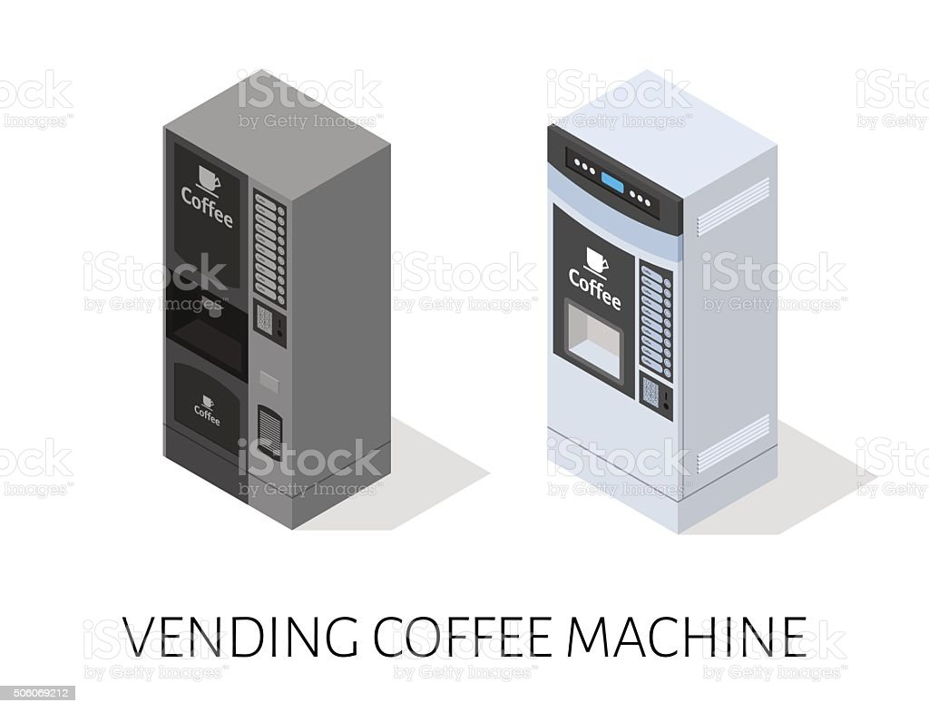 vending coffee machine isometric vector vector art illustration