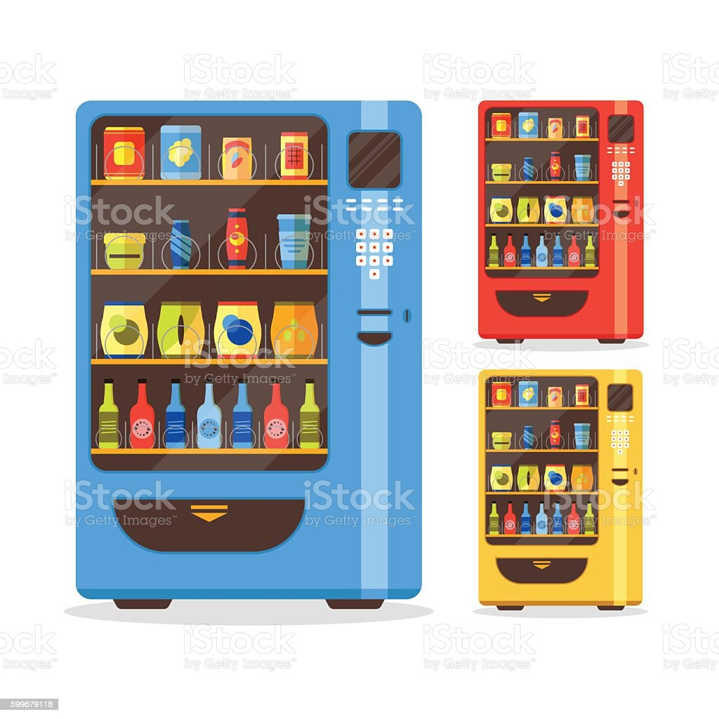 Vending Machine Set with Food and Drink. Vector vector art illustration