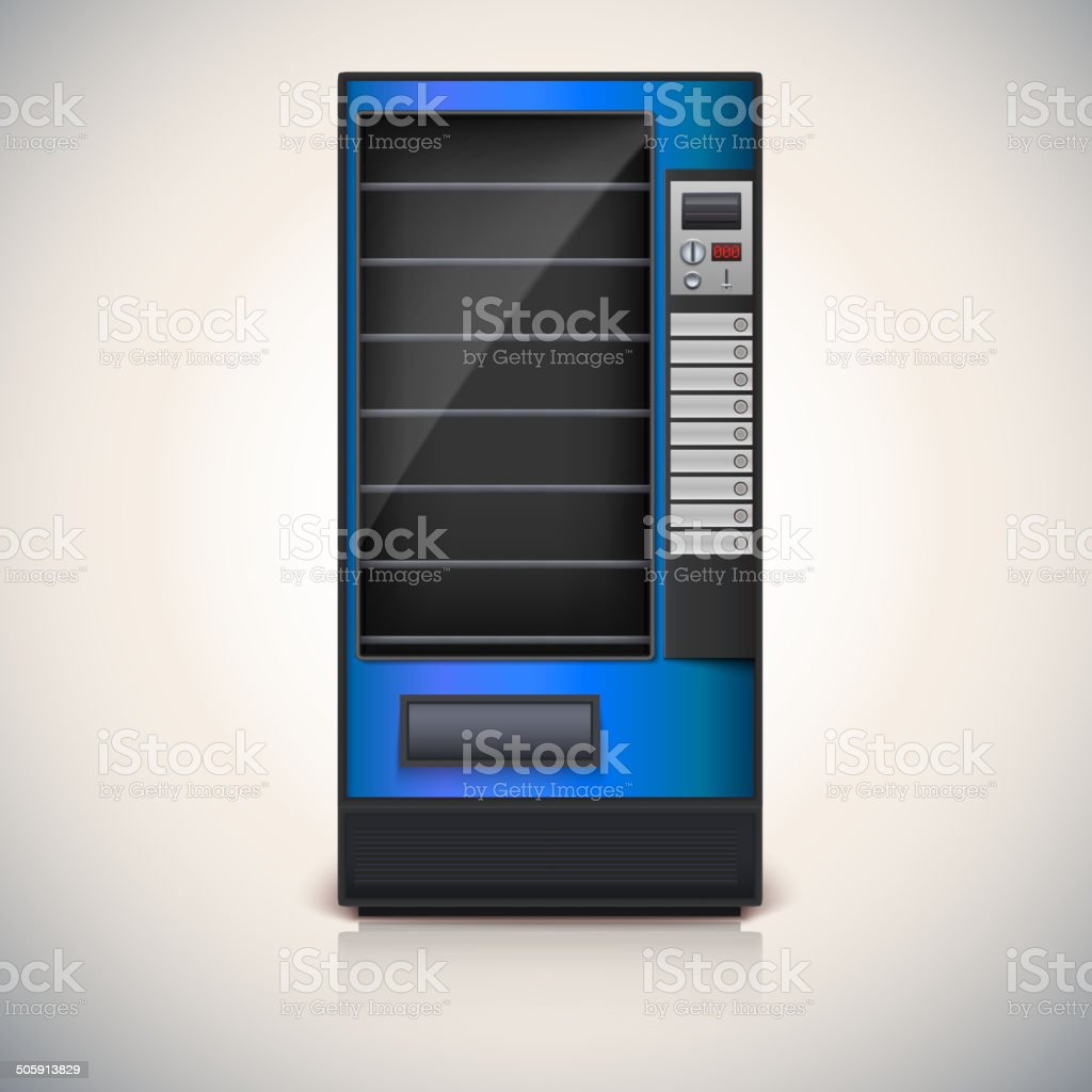 Vending Machine with shelves, blue coloor. vector art illustration