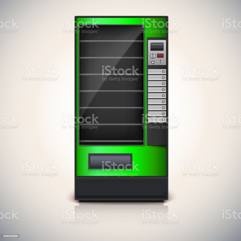 Vending Machine with shelves, green coloor. vector art illustration