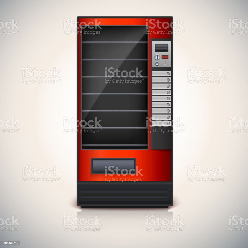 Vending Machine with shelves, red coloor. vector art illustration
