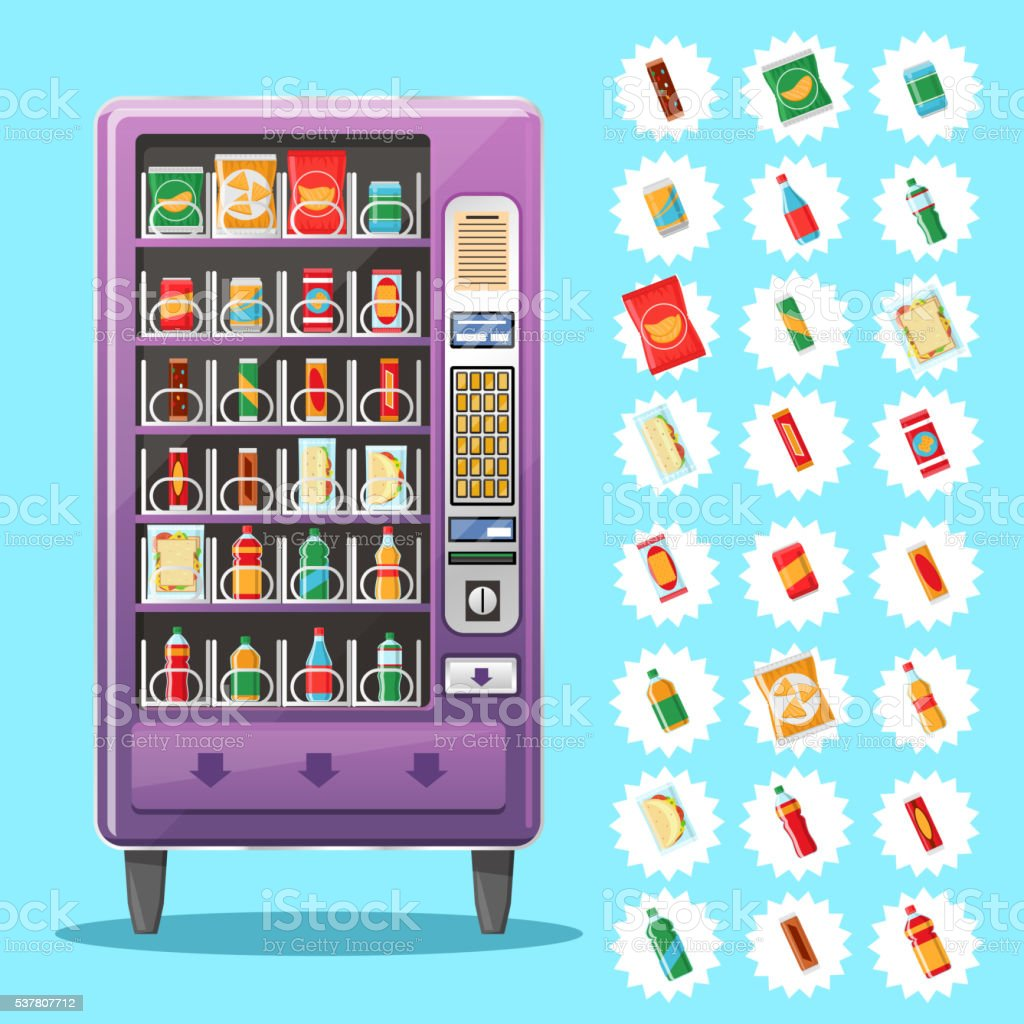 Vending machine with snacks and drinks. Vector illustration vector art illustration