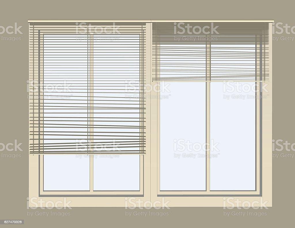 Venetian blinds on window vector art illustration