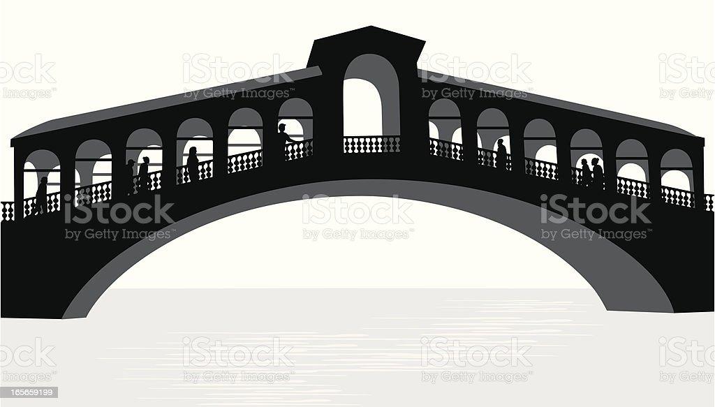 Venetian Bridge Vector Silhouette royalty-free stock vector art