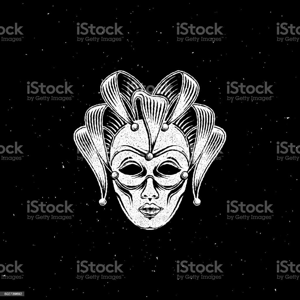 venetian carnival mask or jester emblem vector art illustration
