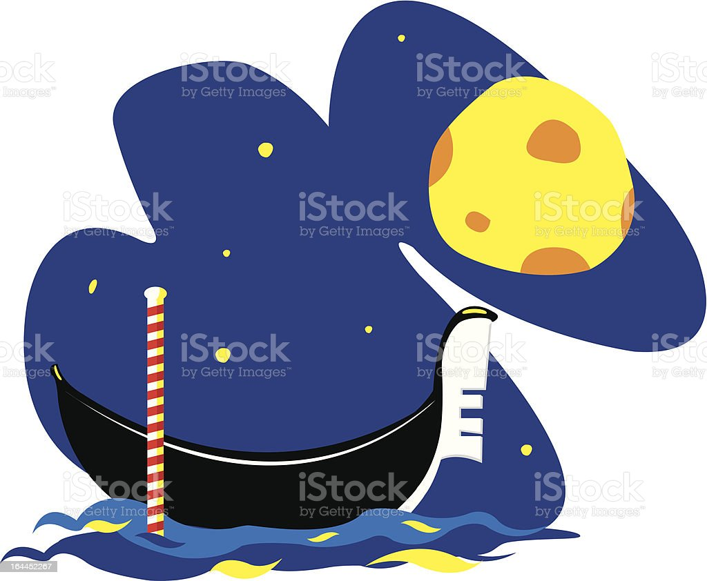 Venetian Gondola by Night royalty-free stock vector art